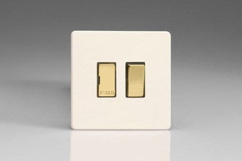 Varilight XDY6VDS.PD Screwless Primed Brass 13A Switched Fused Spur Metal Inserts
